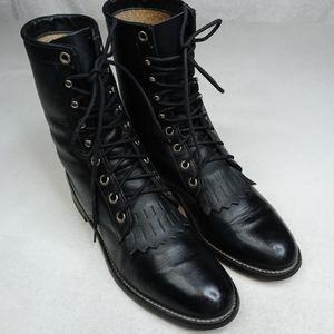 Justin L506 Western Roper Black leather Kiltie Boo